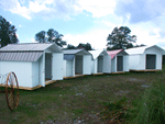 Storage sheds with colored roofs.  Select from our many colors.